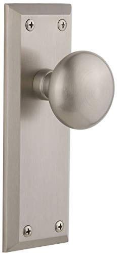Grandeur 814158 Fifth Avenue Solid Brass Privacy Door Knob Set with Fifth Avenue Knob and 2-3/4