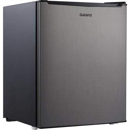 Galanz 2.7 Cu. Ft. Mini Refrigerator/Freezer, Stainless Steel with Reusable Cloth
