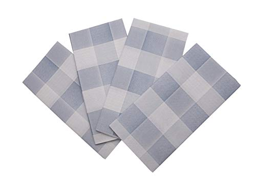Gingham Napkin   Blue Checks - Disposable Linen-Feel Guest Towels Rustic Cottage Styling Perfect for Everyday Use, Lunchboxes, for Kitchen, Parties, Dinners or Events Set of 50, 16x16 inches.