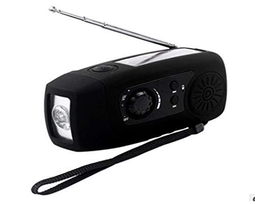 Solar Hand Crank LED Flashlight Emergency Light AM/FM Radio Charger +USB Cable (Black)