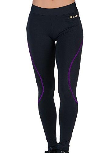 Lange Strumpfhosen für Damen Basic Leggins Wide Waist Opaque Elastische Sporthose ROSSO Lycra Schwarze Hose LILA Gym Bauch Pilates Laufen Fitness Laufen