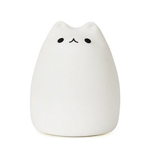 GUO Portable LED Children Night Light Kids Silicone Cat Lamp Warm White &7-Color Breathing Dual Light Modes, USB Rechargeable Lighting,Sensitive Tap Control for Baby Adults Bedroom