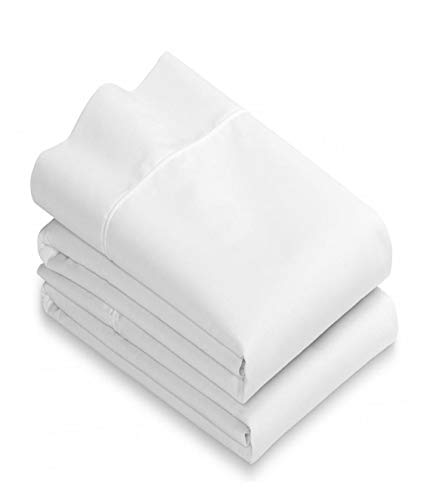 (White Cotton Standard Pillowcases Set of 2-200TC Heavy Weight Quality, Elegant Double Stitched Tailoring, Reduces Allergies and Respiratory Irritation)