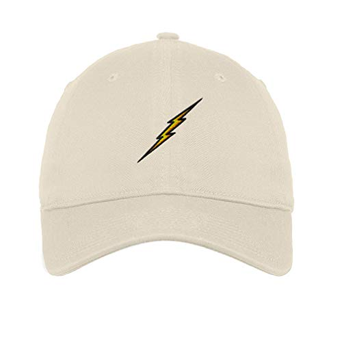 Low Profile Soft Hat Lightning Bolt Embroidery Design Cotton Dad Hat Flat Solid Buckle Stone Design Only