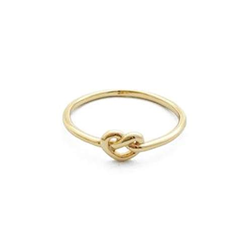 HONEYCAT Love Heart Knot Ring in Size 6.5 | Minimalist, Delicate Jewelry (Gold Plated)