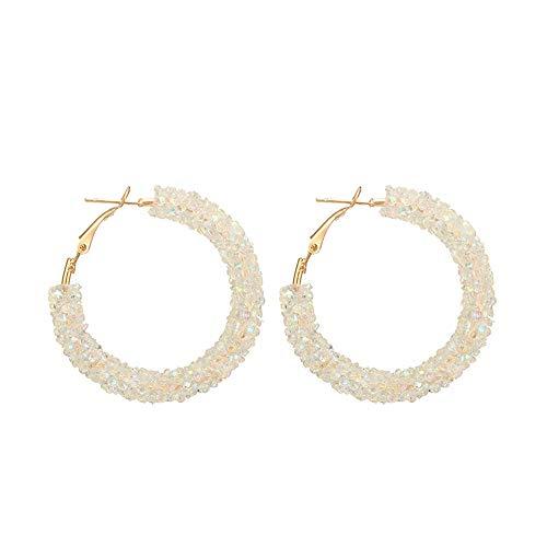 LODDD Women Personality Shiny Crystal Hoop Earring Fashion All-match Geometric Big Round Earrings -