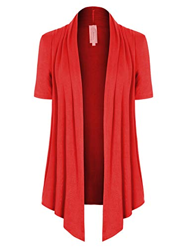 (MixMatchy Women's [Made in USA] Solid Jersey Knit Short Sleeve Open Front Draped Cardigan (S-3XL) Red XL )