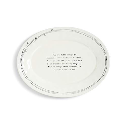 Family Blessings Black and White 17 x 13 Glossy Ceramic Stoneware Platter