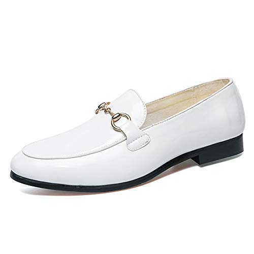 de de 40 Calzado EU Plano Cuero Oxford tamaño de Ofgcfbvxd holgazán Color Solid Zapatos Negocios Respirable Hombre Casual Charol Blanco Color Decorativos Blanco Formal Button Button gTTq5ZSx