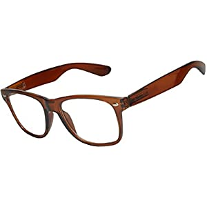 OWL - Non Prescription Glasses for Women and Men - Clear Lens - UV Protection (Brown_Clear, PC Lens)