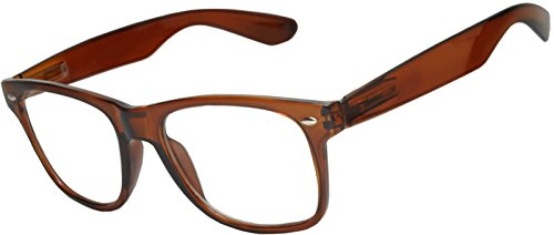 OWL - Non Prescription Glasses for Women and Men - Clear Lens - UV Protection (Brown_Clear, PC ()