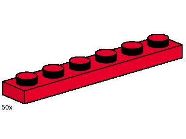 Lego Building Accessories 1x6 RED Plates - 50 pcs