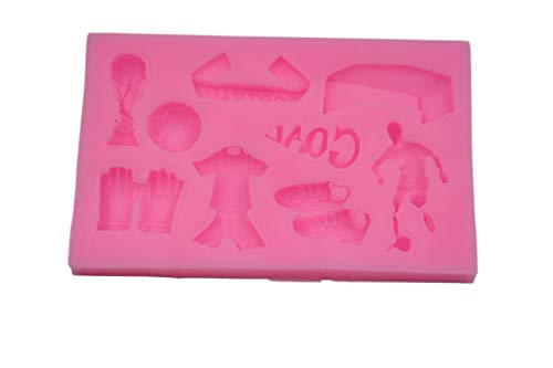 (Soccer Themed Silicone Mold (Sports, Football, Goal, Trophy) Cake Mold For Cake/Cupcake Decorating, Gum Paste, Polymer Clay,Chocolate,Candy DIY)
