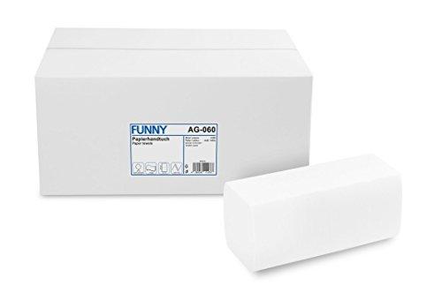 Funny Papieren handdoeken hoogwit, cellulose, ZZ/V-vouw, 4000 stuks in doos, 24,5 x 22 cm 2-laags