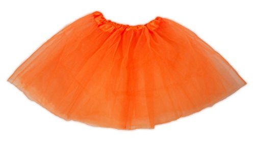 Tutu Ballet Party Dress Skirt for Girls and Toddlers - Ballerina or Princess Dress up Pretend Play Costume (Neon Orange)