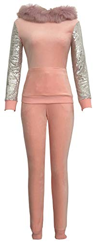 Women 2 Pieces Velour Sweatsuits Sequins Sleeves Hoodie Tops Long Sweatpants with Pockets Pink ()