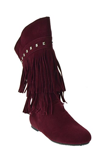 (Trina 03T Baby Girls Moccasin 2 layer Fringe Boots Burgundy)