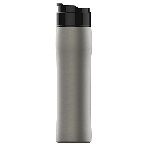 WILLGOO Portable French Press Coffee Maker, Vacuum Insulated Premium Stainless Steel Tea & Coffee Travel Mug for Office Camping Outdoors 350ml/12oz (Silver)