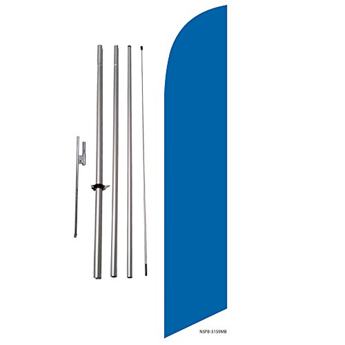 Solid Marina Blue Feather Banner Swooper Flag Kit - Includes Pole Kit and Ground (Swooper Banner)
