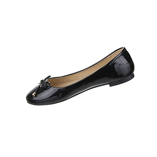 Damen Schuhe Ballerinas Lacklederoptik Schwarz