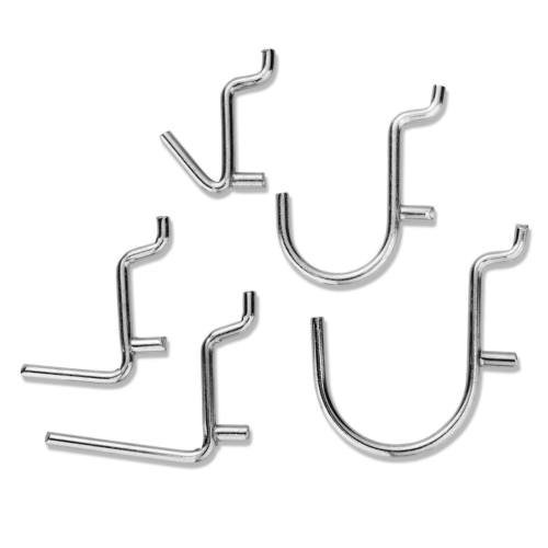 Hot Promotion But 1 Get 3 - Pegboard Hooks Assorted Wall Storage Shelf Tool Organizer Display Hanger Clean fit 1/8'' Hooks 1'' wide 50 pcs Silver color
