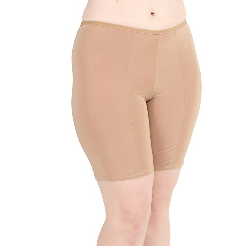 Classic Bloomers - Undersummers Classic Shortlette: Rash Guard Slip Shorts (Large, Beige)