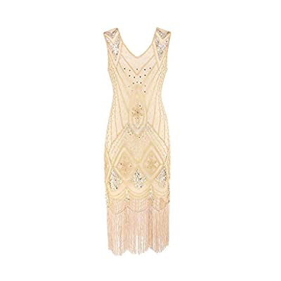 FEITONG Women Vintage 1920s Bead Fringe Sequin Embellished Party Flapper Gatsby Dress