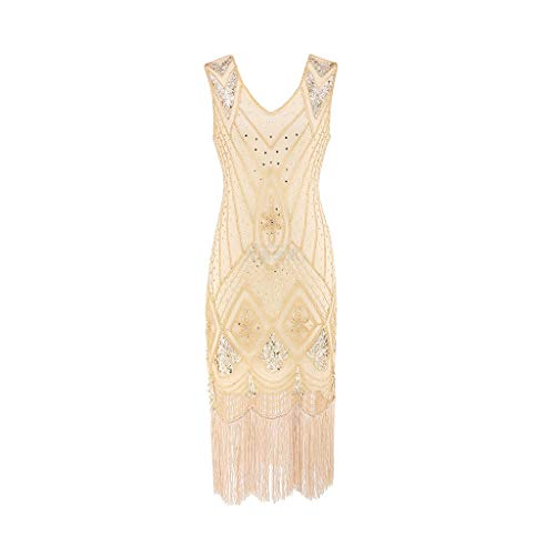 Women Vintage 1920s Fancy Bead Fringe Sequin Tassel Sleeveless Club Cocktail Party Prom Midi Dress -