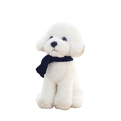 (Vicwin-one Squeezable Stuffed Animal Plush Poodle Dog Plush Toy Pillow (9 Inches, White(Scarf)))
