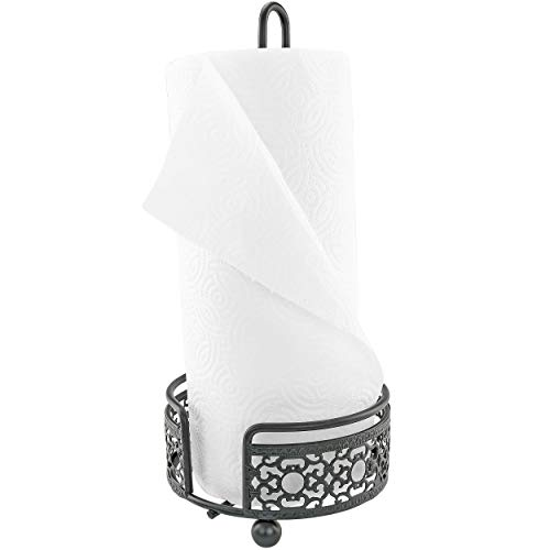 (Southern Homewares SH-10240 Countertop Paper Towel Holder or Dispenser Patterned Metal Black Rustic Victorian like Wrought Iron for Kitchen or Bathroom One Size)