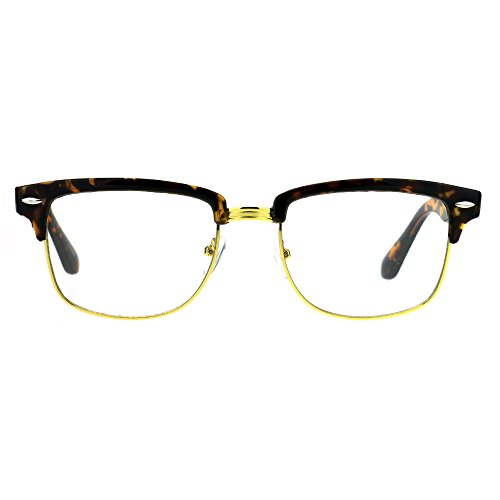 Half Rim Clubmaster Rectangular horned DJ Optical Glasses - Tortoise - Clubmaster Gold