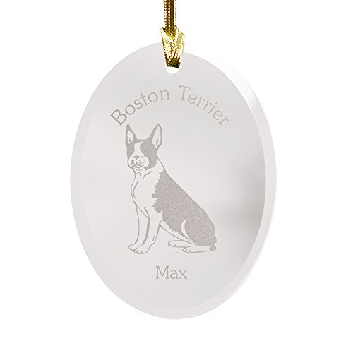GiftsForYouNow Dog Breed Personalized Glass Christmas Ornament, Boston Terrier