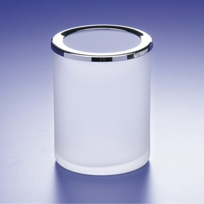 Round Crystal Glass Toothbrush Holder Finish: Chrome w/ Frosted Glass
