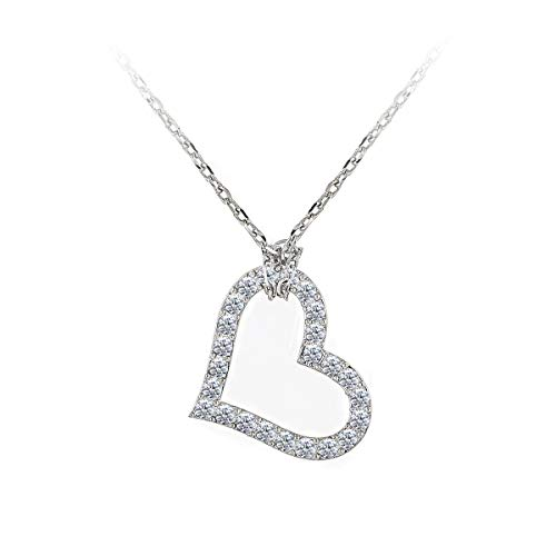 Baron Romantic Crystal Slanted Heart Necklace Adorned with Crystals from Swarovski. Glistening of 24 Clear 3.15mm Crystals Set in Rhodium Plated Brass. (1-1/8 Wide) 15.5 Chain with 4 ext.