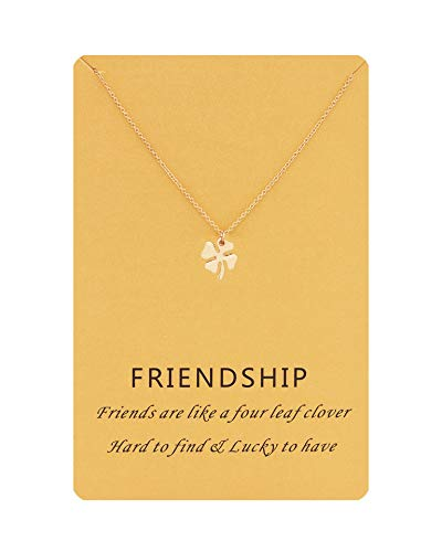 (Zealmer Four Leaf Clover Necklace Gift Friendship Forever Lucky Charm Necklace for Women Girls with Card)