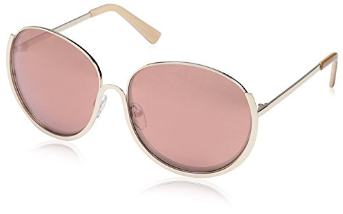 SOCIETY NEW YORK Women's Modern Round Sunglasses, Gold, ()