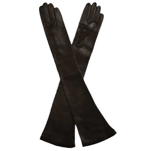 Opera Length Italian Leather Gloves. Lined in Silk. 16bt. By Solo Classe (S, Black)