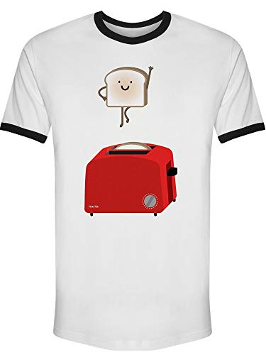 Toaster With Flying Bread Tee Men's -Image by Shutterstock from Teeblox