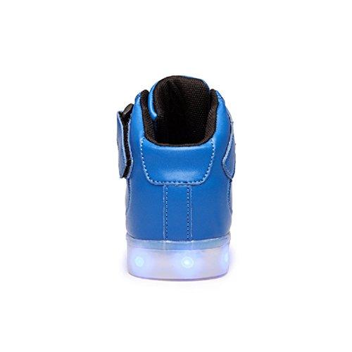 Coole Fun Light Up LED Schuhe Sneaker 7 Farben USB Lade Blau