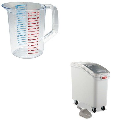 KITRCP3216CLERCP360088WHI - Value Kit - Rubbermaid-White Slant Front Ingredient Bin with Sliding Lid and 32 Ounce Scoop, 2 3/4 cu ft. (RCP360088WHI) and Rubbermaid-Clear Bouncer Measuring Cups 1 Quart (RCP3216CLE)