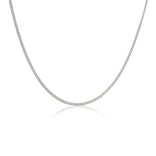 Pori Jewelers Genuine Platinum 950 Solid Diamond Cut Cuban/Curb Chain Necklace -0.8mm Thick (18)