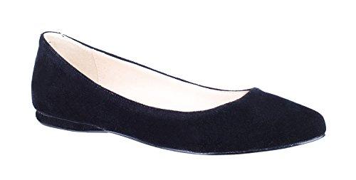 Donne Del Piede Del Reggiseno In Vera Pelle Scamosciata Punta A Punta Ballerine Comode Scarpe Casual Scarpe C-nero