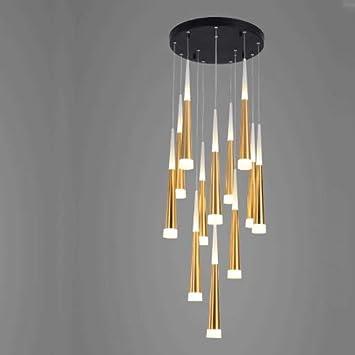MRFX Moderno Minimalista Creativo araña Escalera giratoria lámpara led iluminación dúplex Nordic Personalidad iluminación Cristal Arena Restaurante araña 2019 último Estilo: Amazon.es: Hogar