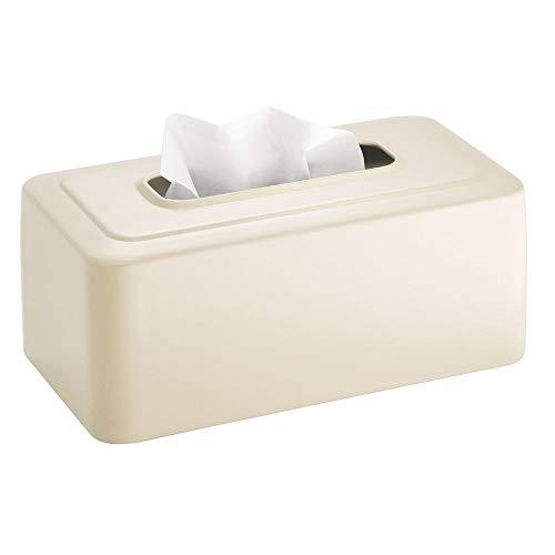 mDesign Modern Metal Tissue Box Cover for Disposable Paper Facial Tissues, Rectangular Holder for Storage on Bathroom Vanity, Countertop, Bedroom Dresser, Night Stand, Desk, Table - Vanilla/Cream
