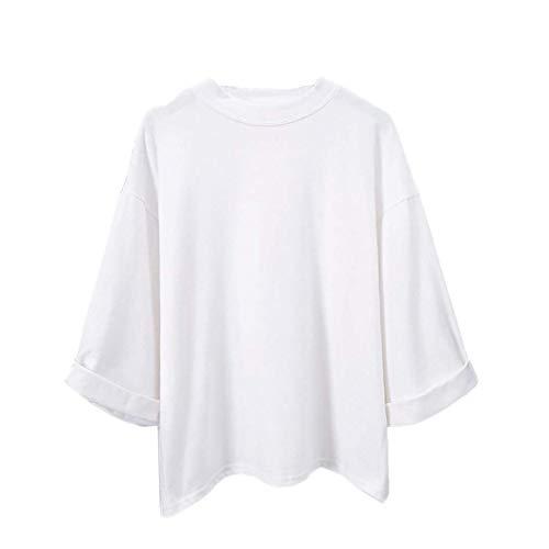 Zhrui Taille Blouse T Cou Blanc Ou shirt couleur Un Muk manches A Blanc Cn longues 10 Femme à rSOxwrqU