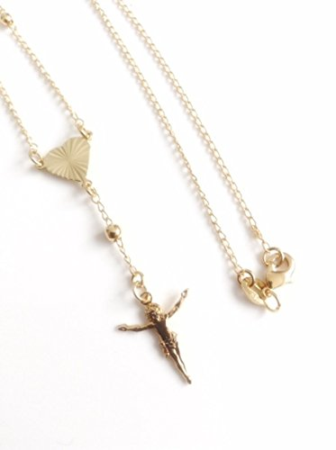 at Necklace Gold Plated Crucifix. Catholic Wedding Jewelry for Brides (Delicate Rosary Necklace)