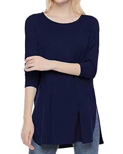 Manica Donna 4 Xinwcang Lunga Shirt T 3 Felpa Camicia e Blu Lunga Maglietta Top Casual Bluse Rqttdw