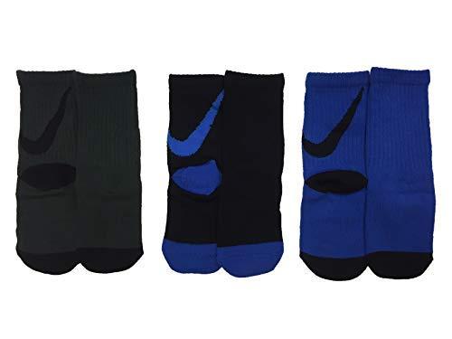 Nike Boy`s Lightweight Crew Socks 3 Pack (Black(VN0249-BB6)/Blue/Grey, 6-7)