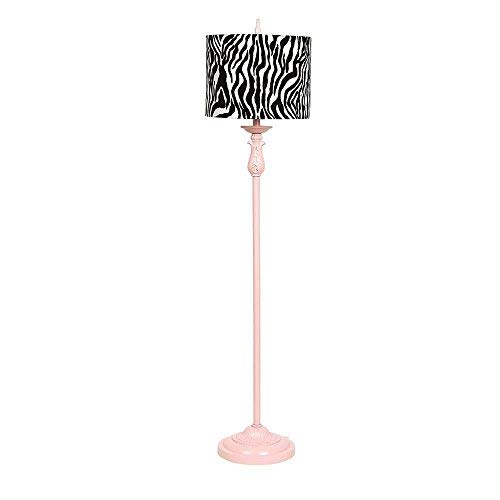 Jubilee Collection 8806-5500 Zebra Drum Shade on Pink Floor Lamp, X-Large