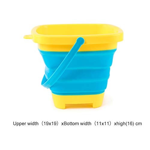 Foldable Bucket Sand Multifunctional Collapsible Bucket Beach Bucket Silicone for Outdoors Water Fishing Tub Toy for Kids Summer Party Playing ()